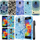 For Samsung Galaxy S5 mini G800 PATTERN HARD Protector Case Phone Cover + Pen