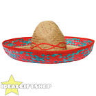 RED TRIM MEXICAN SOMBRERO STRAW HAT 100X PACK WHOLESALE LOT FANCY DRESS WESTERN