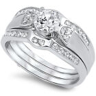 925 Sterling Silver Round Clear CZ Engagement Wedding Set 3 in 1 Ring Size 3-11