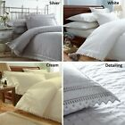 Cream / White Embroidered Duvet Cover / Bed Sets - Luxury Percale Bed Linen NEW
