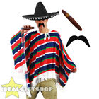 BLACK MEXICAN POMPOM SOMBRERO PONCHO TASH AND CIGAR UNISEX FANCY DRESS COSTUME