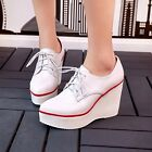 Womens Lace Up Pointy Toe Wedge High Heels Platform Shoes Creeper Preppy Shoes