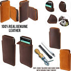 For ZTE ZMAX Z970 Slim Sleeve Genuine Real Leather POUCH Case Cover + Pen