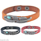 1PC BD New Women Fashion Leather Leaves Multi-layer Rope Double Bracelet Bangle