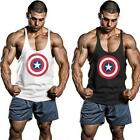 Fashion Men Captain America Tank Tops Stringer Bodybuilding Fittness Gym Vest LA