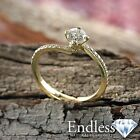 Round Cut Diamond Engagement Ring Size 8 14k Solid Gold 1.2 TCW VVS I-J Enhanced