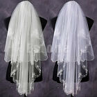 Beautiful White Ivory 2T Beaded Edge Bride Bridal Wedding Veil With Comb New