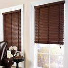 Hard Wood Venetian Blinds Dark Wood Teak 50mm Slats with Tapes 60 to 180cm
