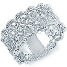 925 Sterling Silver Clear CZ Floral Design Love Filigree Band Ring Size 5-11