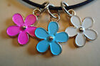 Pretty Enamel Daisy Flower Leather Surf Necklace Funky Bright