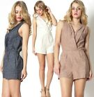 Chic Casual pleated V neck Linen Sleeveless Jumpsuit Short Playsuit Romper Dress