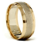 Gold 8mm Hammered Two Tone Comfort Fit Wedding Band New