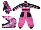 Kids pink Wulfsport Wulf MX Motocross Set Quad Karting Suit, Gloves & Helmet