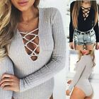 Sexy Women V neck Bodysuit Jumpsuits Rompers Long Sleeve Pullover Jumper Tops