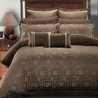 7 PC Janet Jacquard Duvet Cover Set 100% Luxury Brown By Royal Hotel Collection