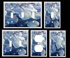 BEACH GLASS BLUE SEA GLASS  LIGHT SWITCH COVER PLATE  YOU PICK PLATE SIZE