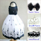 Adorable Black recital wedding embroidery kid flower girl party dress all sizes
