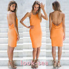 Summer Womens Backless Spaghetti Strap Dress Slim Bodycon Fit Dress Orange New