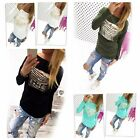 Fashion Women Sequin Letter Printed O-neck Tshirt Cotton Long Sleeve Tops Blouse