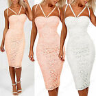 NEW LADIES FLORAL CROCHET LACE STRAP BUSTIER DRESS WOMENS MIDI BODYCON TOP LOOK