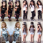 Baby Girls Headband T-shirt Pants Princess Dress Kids Outfits Clothes Suit 2-7Y