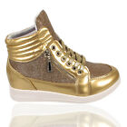 New Gold Glitter Trainers Ladies Womens Ankle Boot Sports Girls Sneakers Shoes