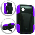T-Stand Black on Purple Combo Hard+Silicon Case For LG 306G TRACFONE Phone