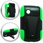 T-Stand Black on Green Combo Hard+Silicon Case For LG 306G TRACFONE Phone