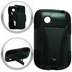 T-Stand Black on Black Combo Hard+Silicon Case For LG 306G TRACFONE Phone