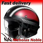 Shoei J.O Hawker TC1 Red Grey Classic Style Integrated Visor Open Face Helmet