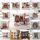 18x18'' Owl Printed Cushion Linen Decorative Sofa Pillow Case Home Decor Gift