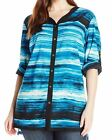 Calvin Klein Women's Plus striped Tunic Top Shirt Blouse Roll up sleeves BLUE 1X