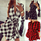 Fashion Women Plaid Shirt Sleeve Bandage Dresses Slim Belt Pretty Casual Dress