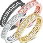 925 Sterling Silver 2 Row Line Clear Round CZ Pave Set Band Ring Size 4.5-10