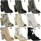 Womens Ladies Block High Heel Peep Toe Open Back Ankle Buckle Cut Out Boots Size