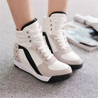 Stylish Womens High platform Wedge Heel Rhinestone Sport Boots Sneaker Shoe