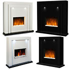 ELECTRIC FIRE BLACK WHITE MDF SURROUND LED LIGHTS LIVING ROOM FREE STANDING