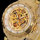 New Fashion Men's Steampunk Gold Skeleton Automatic Mechanical Wrist Watch