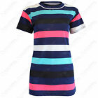 NEW LADIES MULTICOLOUR STRIPE NET MESH T SHIRT WOMENS LONG LOOK SHORT SLEEVE TOP