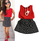Fashion Sleeveles Top+Bowknot Dot Skirt Clothes Girls Baby Kids Outfits Set 2~7Y