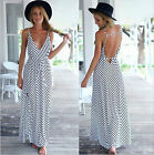 4827 Women Striped Evening Ball Gown Cocktail Party Beach Long Dresses S/M/L/XL