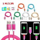 1M 3.3ft LED Braided Rope Micro USB Data Sync Charger Charging Cable Phone Cord