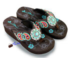 Montana West® Paisley Embroidery Wedge Flip Flops, Sizes 6-11 -Coffee/Turquoise