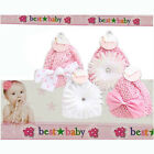 Baby Infant Girls Cap Hat Knitted with Flower Bows NEW