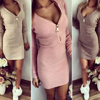 Charm Women Long Sleeve V-neck Dress Sexy Stretch Bodycon Dress Zipper Dress HF
