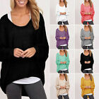 New Casual Women Ladies loose Long Sleeve Pullover Winter Baggy Plain Jumper Top