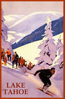 SKI LAKE TAHOE MOUNTAINS DOWNHILL SKIING WINTER SPORT USA VINTAGE POSTER REPRO