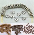 100Pcs Tibetan SILVER & GOLD Flower Daisy Charms Spacers Beads DIY Findings 6MM