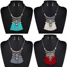 Fashion Women Leather Crystal Tassels Long Chain Pendant Necklace Jewelry Gift
