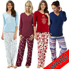 Ladies Womens Winter Warm Long Sleeve Fleece Bottoms Pyjamas Set PJs Nightwear